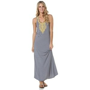 THML Dresses - THML Striped Embroidered Kahlo Maxi Dress